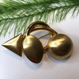 Vintage brushed metal gold tone brooch